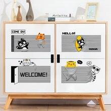 Мультфильм милый Кот настенные наклейки Гостиная Спальня шкаф