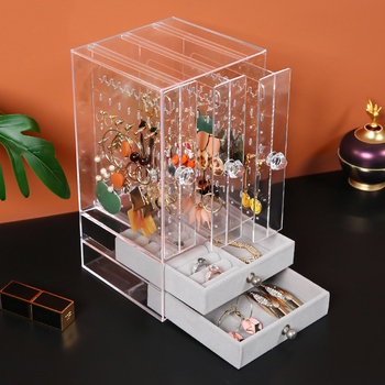 Fasion-expositor de joyería de Material acrílico, soporte para pendientes y organizador de joyas, escaparate para pendientes, caja de soporte