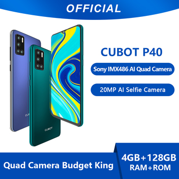Cubot P40 Smartphone NFC 4GB+128GB Rear Quad Camera 20MP Selfie 6.2 Inch 4200mAh Android 10 Dual SIM Card mobile phone 4G LTE