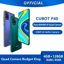 Cubot smartphone p40 nfc 4gb + 128gb, câmera traseira quad, selfie de 20mp, 6.2 Polegada 4200mah, android 10 telefone móvel da cartão sim duplo 4g lte