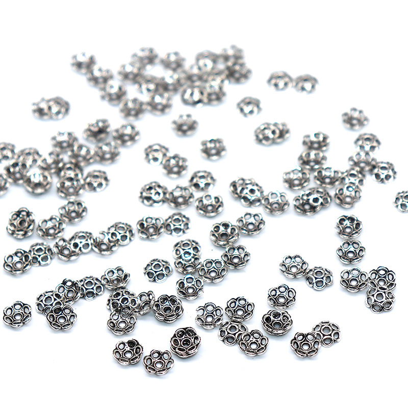 200/400pcs 6mm Vintage Silver Plated Bead Cap Jewelry Supplies Cutout Flower Beads Caps Charms for Jewelry Making Metal
