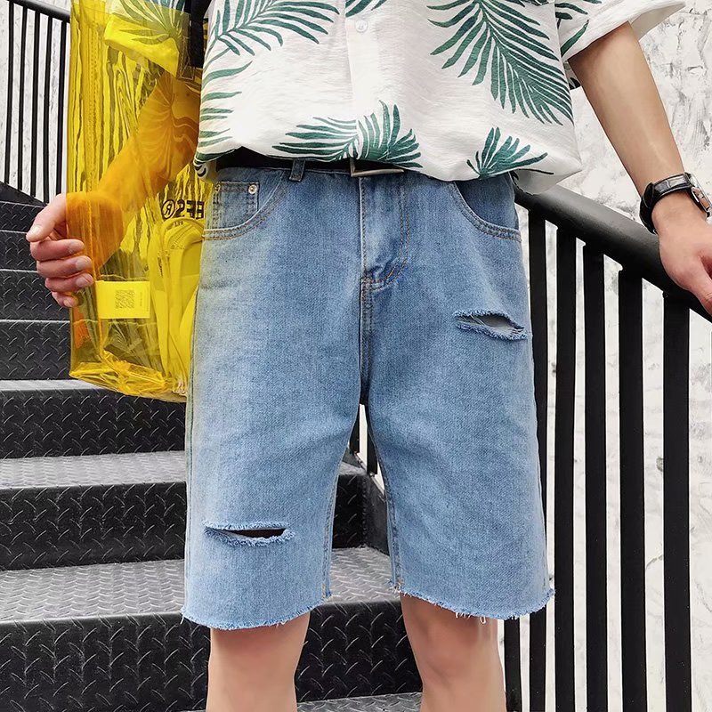 2019 New Style Summer Straight-Cut Loose-Fit With Holes Denim Shorts Korean-style Versatile With Holes Cool Fashion Casual Short