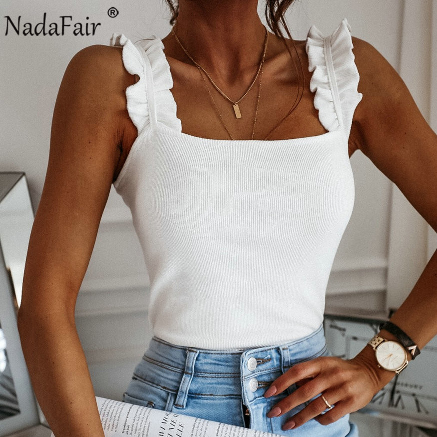Nadafair Tank Tops Women Square Collar Solid Knit Casual Basic Summer Ribbed Slim Ruffles Tops Women(China)