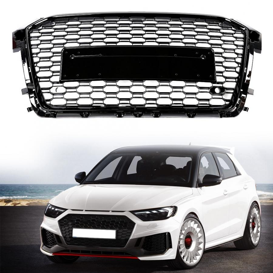 Black Car Front Bumper Grille Grill for Audi RS1 2015 2016 2017 2018 car accessories image