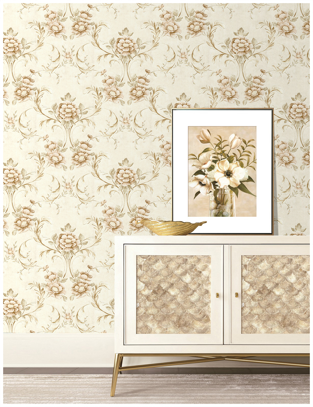 Haokhome Vintage Floral Wallpaper European Style 0 53m 10m Beige
