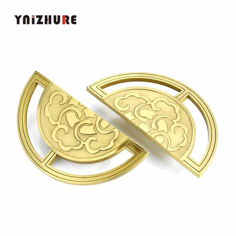 Cabinet Round Handles Furniture Hardware Accessories a pair of Chinese Style Pure Copper Handle Wardrobe Door