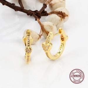 Оригинальный 925 стерлингового серебра серьги золотые очаровательные сердца с кристаллами и заклепками в виде капель с кристаллами в форме для женщин для стильного свадебного подарка ювелирных изделий