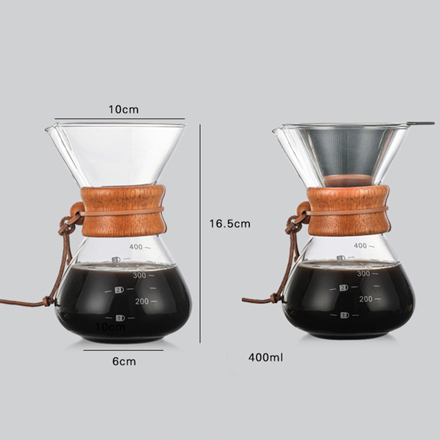 1 Pcs 400 Ml Koffie Potten Hittebestendig Glas Koffie Pot Brouwer 3Cups Geteld Hot Brouwer Koffie Pot Barista percolator