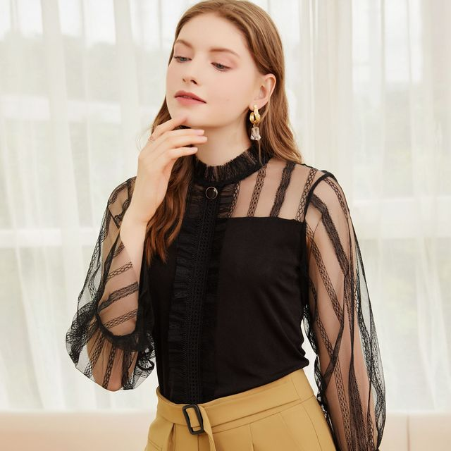 2021 spring and summer new comfortable temperament top type Pullover lotus sleeve women's Lace Sexy hollow out shirt 1