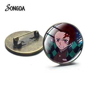 2020 New Anime Kimetsu No Yaiba Brooch Blade of Demon Destruction Slayer Glass Time Gem Collar Pin Badge Clothes Bag Decoration(China)