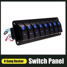 Wasserdichte 8 Gang Switch Panel Für Marine Boot Caravan RV Universal Kippschalter AUF OFF Rocker Panel Mit Rot blau Licht 12/24V