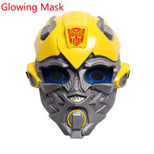 Menino carnaval halloween transformadores máscara incandescente optimus prime bumblebee cosplay fantasia vestido de festa