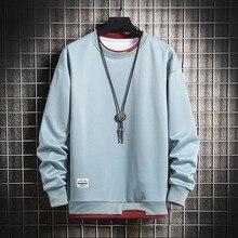Mens Casual Sweatshirts Hoodie Men Fake Two Pieces Multi Color O Neck Fashion Harajuku Style Male Sweatshirt 2021 New