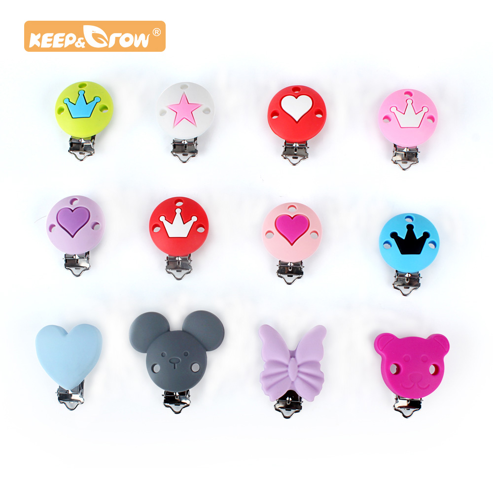 Keep&Grow 1pc Cartoon Pacifier Clips Safe Teething Metal Silicone Rodent Accessories DIY Baby Teething Necklace Pendant Clamp