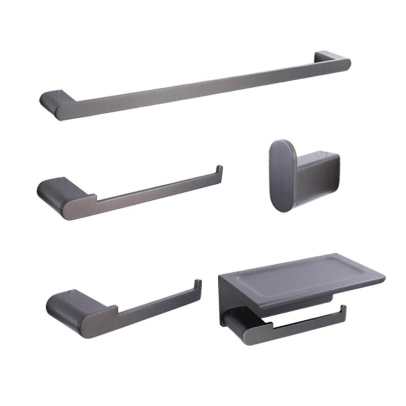 Bathroom Accessories Luxury Stainless Steel Towel Ring Rack Bar Toilet Paper Tissue Holder Shelf Hardware Set Robe Hook Gun Gray
