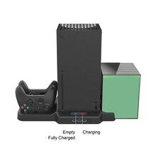 حامل تبريد لـ Xbox Series S X وحدة التحكم أذرع التحكم في ألعاب الفيديو شاحن منصة رأسية مع 2 مراوح تبريد 3 منافذ USB 11 فتحات لعبة