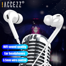 !ACCEZZ Earphones Wired 3.5mm Bass Stereo In-Ear Volume Control Earphone Music Headsets For iPhone 6 6S SE Samsung S7 S6 Xiaomi