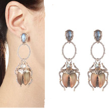 CSxjd 2019 New inlaid zircon Insect personality fashion earrings fashion temperament retro jewelry