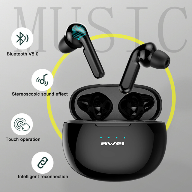 AWEI T15 TWS Bluetooth Earphones Mini In ear Sports headset For phone iPhone 7 x Xiaomi Huawei and others 4