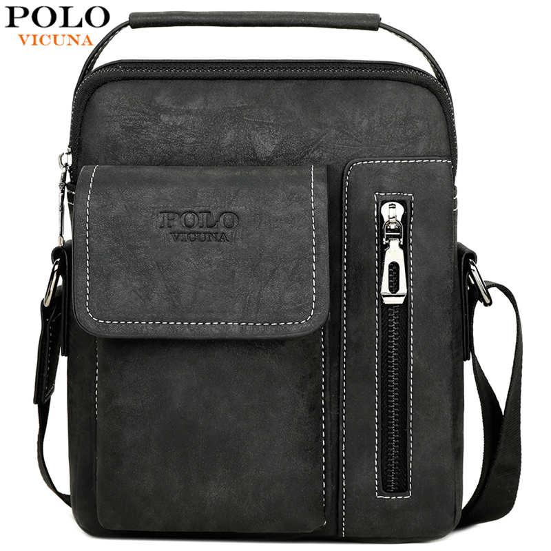 VICUNA POLO Antique Business Man Handbag Frosted Leather Mens Crossbody Messenger Bag Sling Shoulder Bags New Arrival