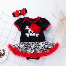 Get more info on the 2019 Fashion Toddler Kids Baby Girls Halloween Skull Print Ruched Romper Dress Hairband Outfits Sets