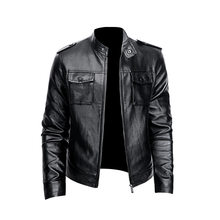 2021 spring and autumn brand European and American men's trend leather jacket youth collar punk men's motorcycle leather jacket