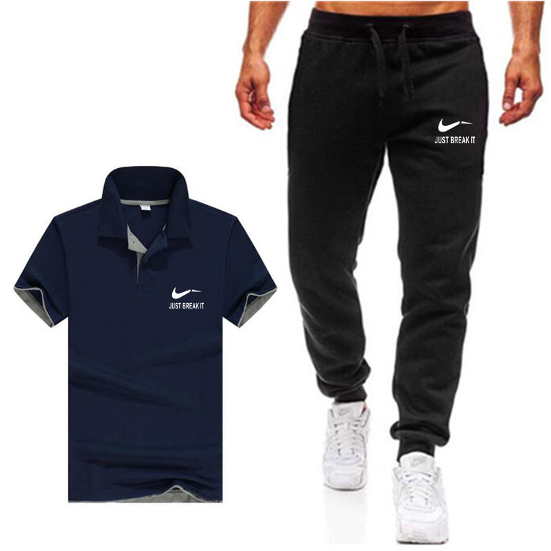 Men's Sets Polo Shirts+pants Two Pieces Sets Casual Tracksuit Men New Fashion Printing Suits Sportwear Gyms Fitness Trousers