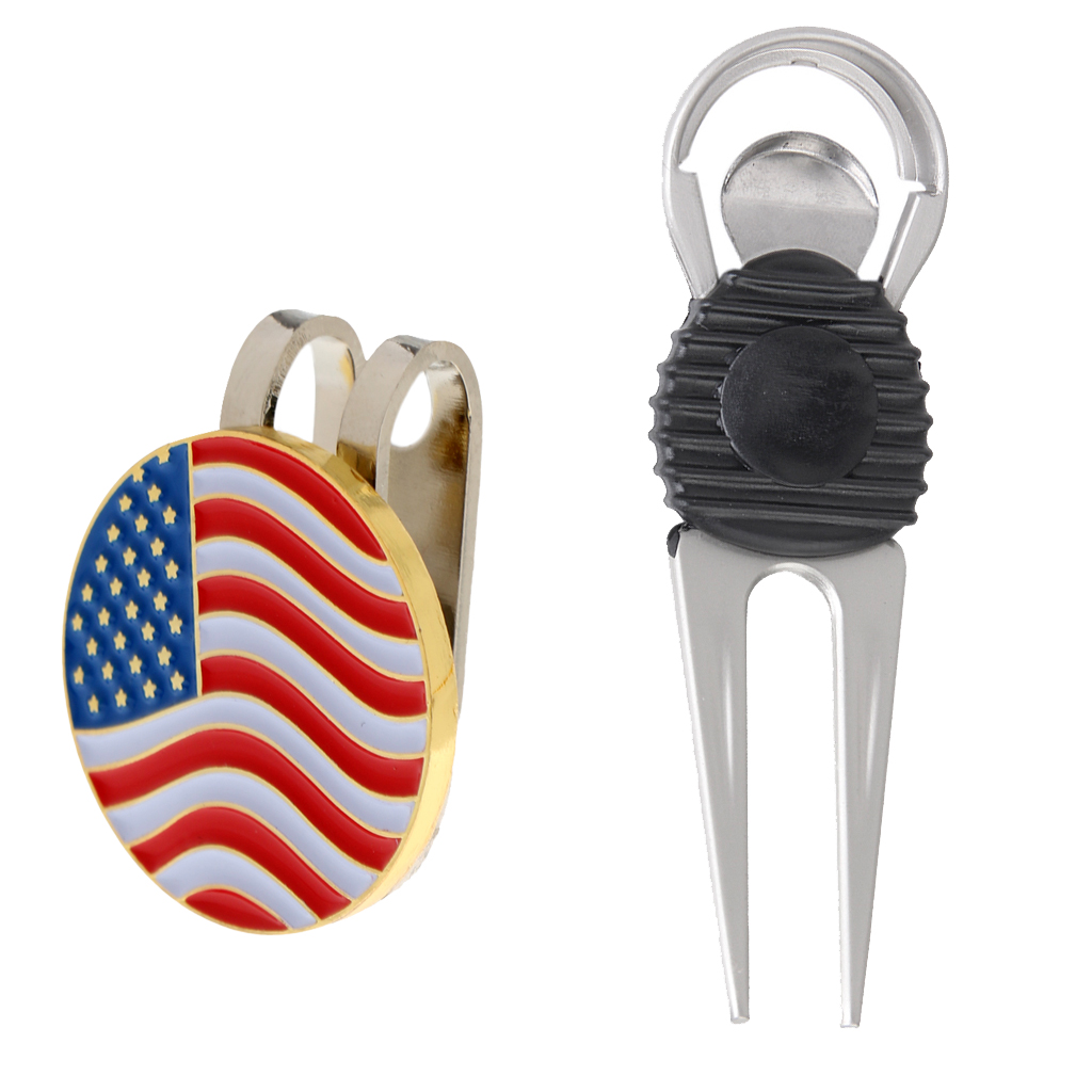 Alloy Golf Repair Divot Tool + USA Flag Golf Marker Magnetic Hat Clip Golf Accessories Golfer Gift