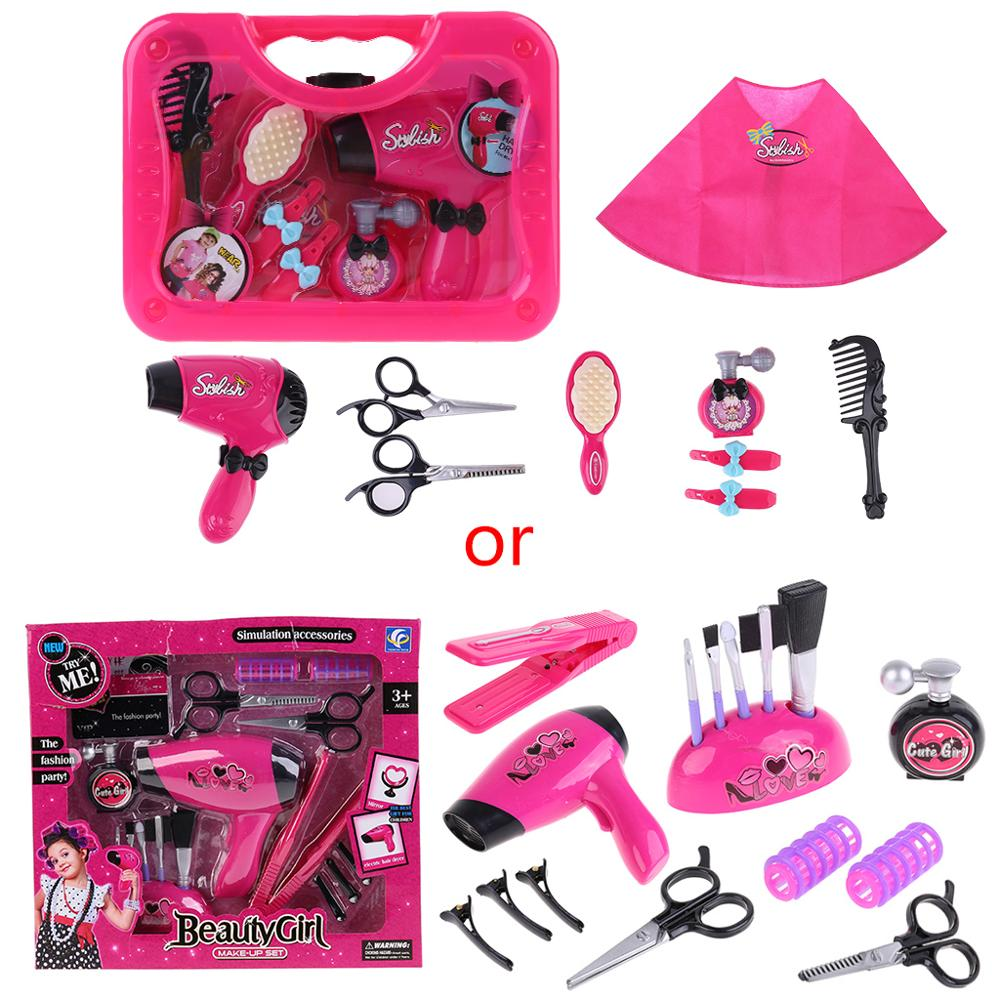 Kids Hair Salon Kit Girl Pretend Play Hairdressing Simulation Toy For Toddler R7RB