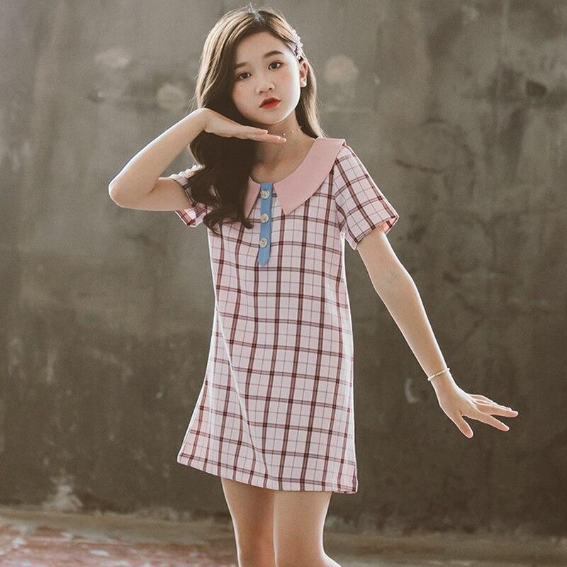 Directamente de las muchachas del verano vestidos Collar elegante traje para niñas Retro estilo europeo corto Plaid camisa chica vestido de 3 a 12 años