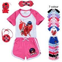 Tikki Plagg Kwami – Costumes de Marinette pour enfants, ensemble de loisirs pour bébés filles, vêtements de sport t-shirt + short, chat Noir