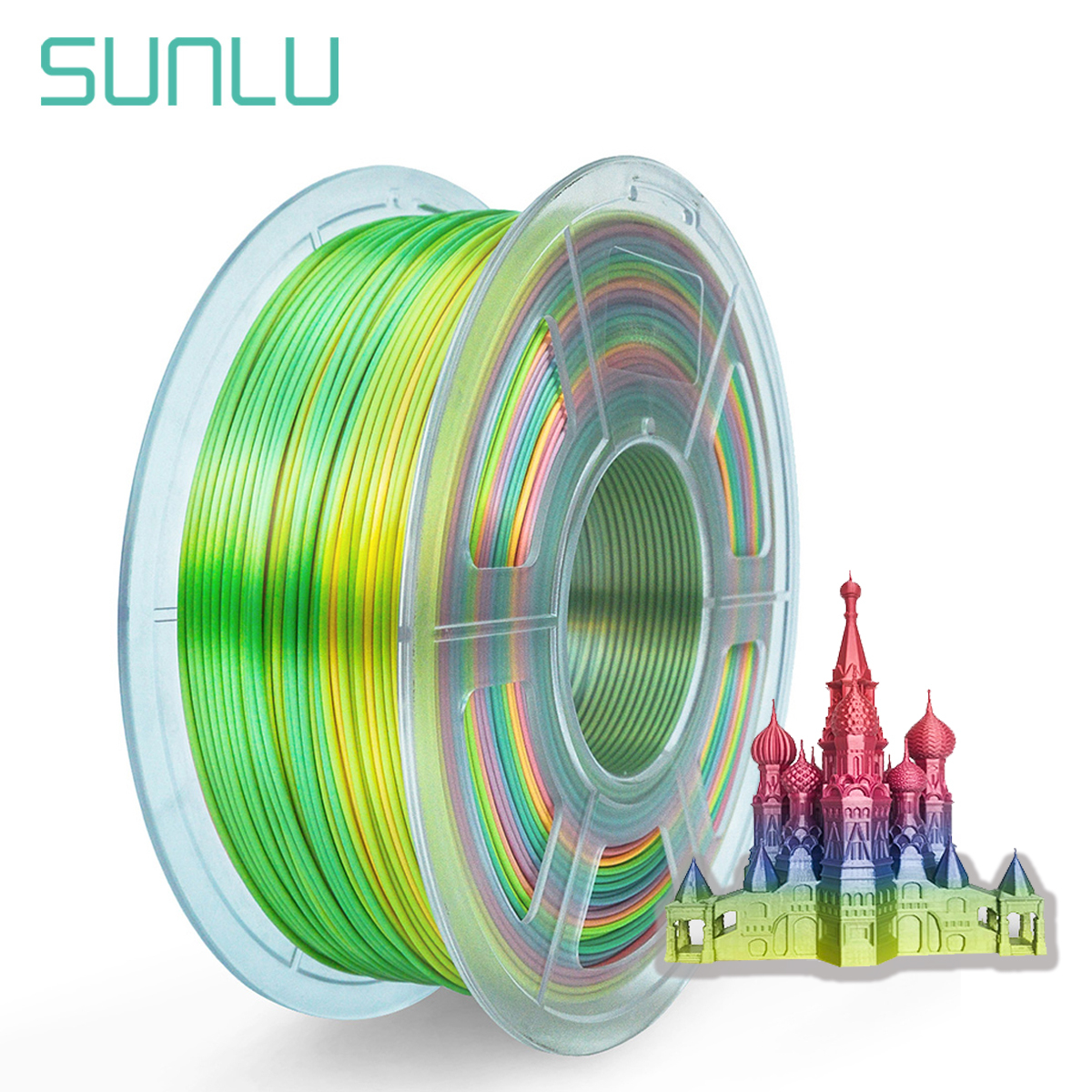SUNLU  Silk Rainbow Filament 1 75mm 1kg For 3D Printer Shiny Color PLA Filament Silk Texture Printing Materials