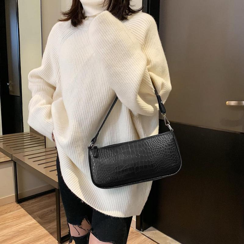 Fashion Crocodile Leather Women Bag Retro Alligator Bag Shoulder Crossbody Handbag Ladies Hand Bags Female Handbag  Baguette Bag