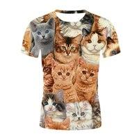 Dames Zomer Mode Korte Mouw Shirt Leuke 3D Unisex T-shirt Dier Kat Patroon Hoge Kwaliteit Streetwear Mannen T-shirts Top