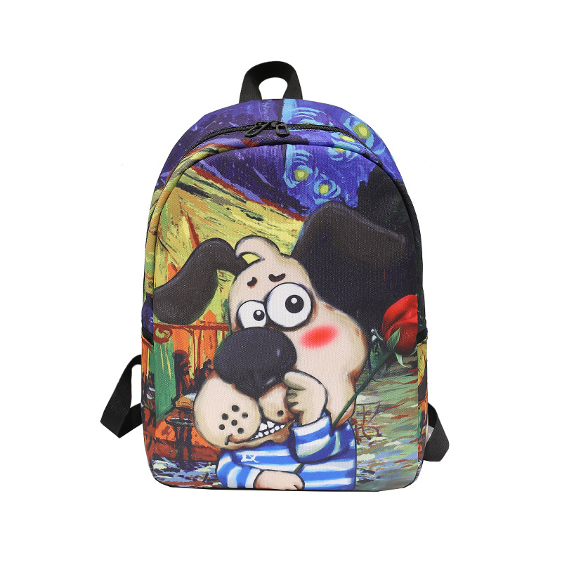2018 New Style College Style Printed School Bag Cartoon Cute Dog BOY'S And GIRL'S Outdoor Backpack