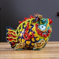 2Pcs/set Chinese Style Ceramics Colors Fish Art Sculpture Animal Statue Creative Ceramic Crafts Home Decorations R4190