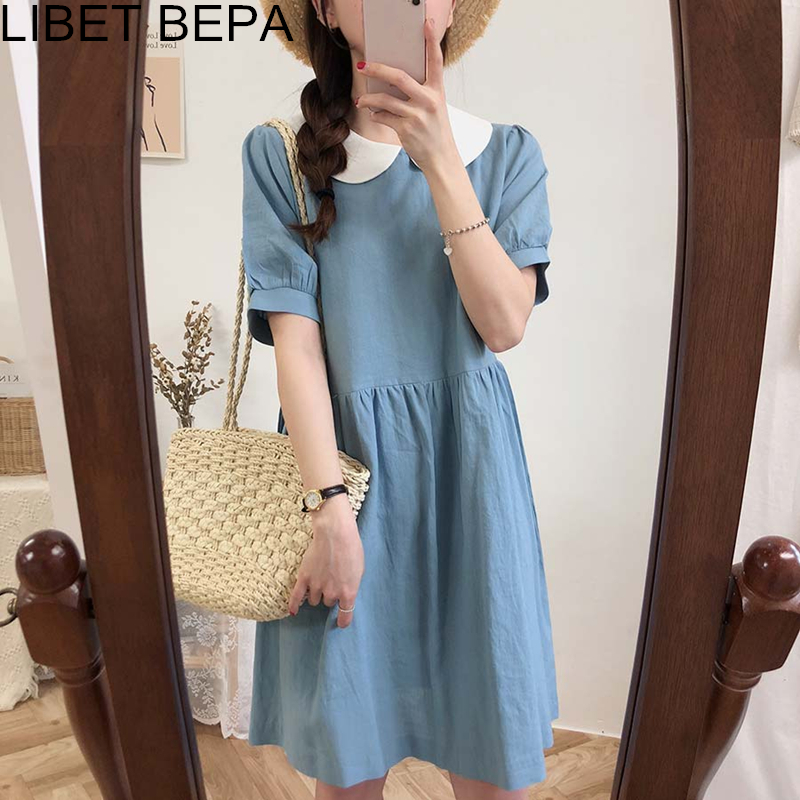 2020 New Spring Summer Women Dress High Waist Casual Peter Pan Collar Fashionable Sweet Korean Style Linen Pleated Dress DR1955