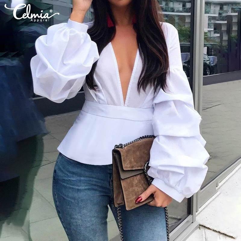 S-5XL Celmia Women Sexy V Neck Fashion Blouse Long Lantern Sleeve Elegant Office Shirt Solid Casual Tunic Top Party Blusas Femme