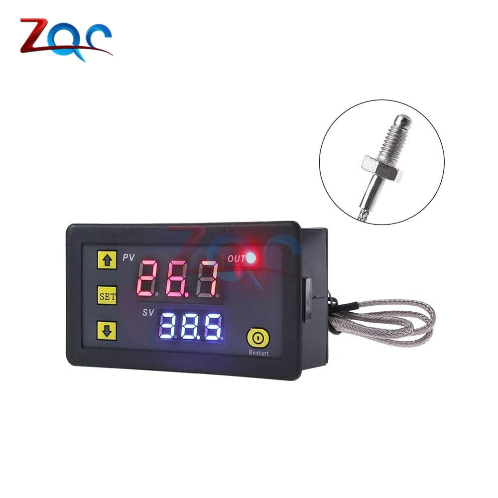 Цифровой светодиодный регулятор температуры переменного тока 220 В/постоянного тока 5 В/12 В/24 В, измеритель температуры-60 -500 ℃, термопара типа...