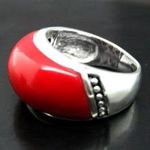 Fashion Jewelry 925 Sterling Silver 10*20mm Red Coral Ring Size 7/8/9/10(China)