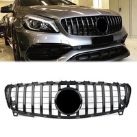 Car Front Grille GTR Style Grill For Mercedes Benz A Class W176 A200 A250 A45 AMG 2016 2017 2018 Gloss Black