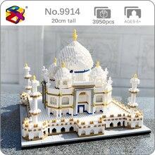 PZX 9914 World Architecture Taj Mahal Palace 3D Model 3950pcs DIY Mini Diamond Blocks Bricks Building Toy for Children no Box