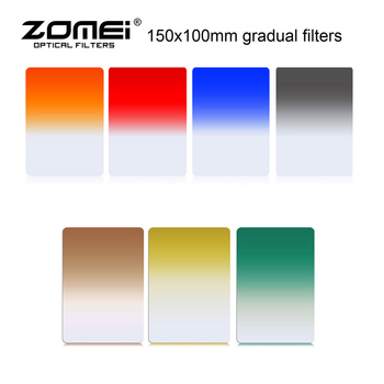 Zomei Original 150*100mm Square Graduated  Neutral Density Filter Full Color Grey ND2 ND4 ND8 Filter 7 Colors for Cokin Z-Pro