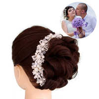 ACRDDK Kristall Perle Handgemachte Stirnbänder Braut Tiaras Kronen Haarband Kopfstück Kopf Schmuck Frauen Hochzeit Haar Zubehör SL