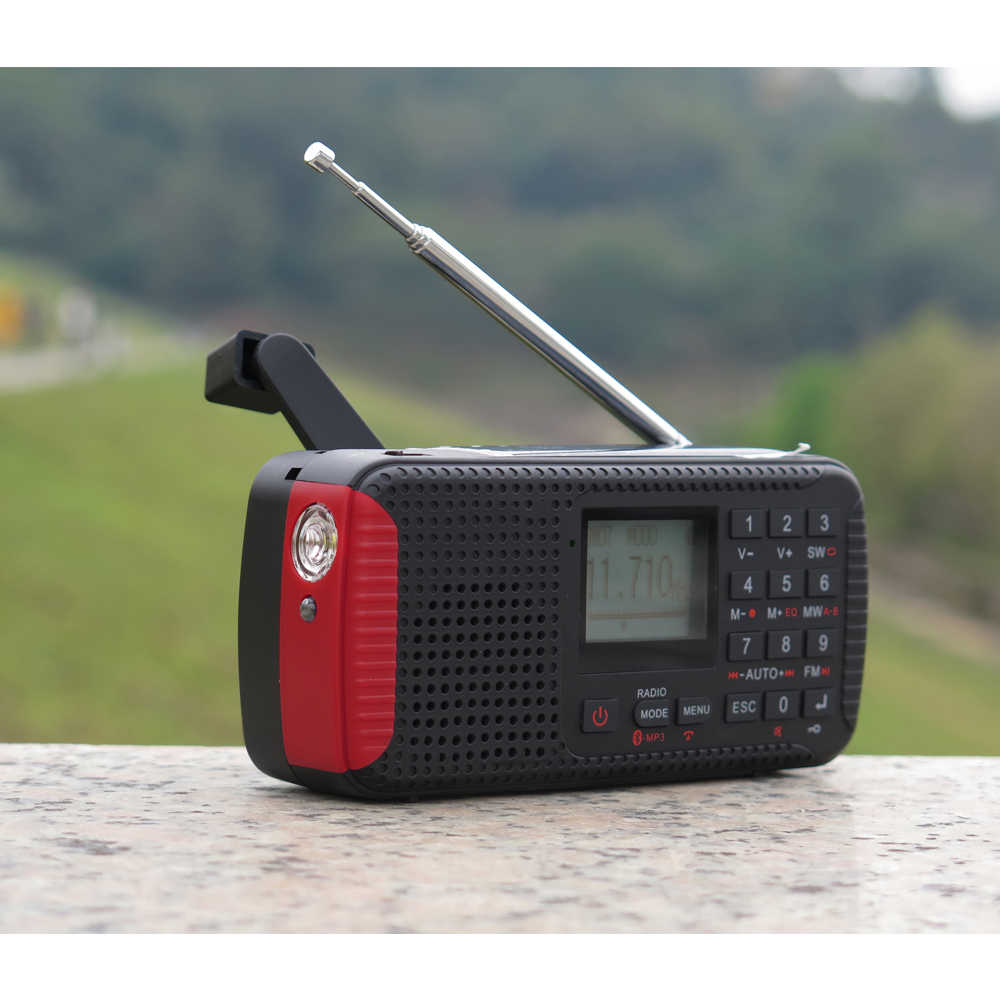 CY-1Radio dínamo Solar de emergencia Multi-función FM estéreo alarma reloj Digital sintonización de banda completa Radio/grabación/MP3