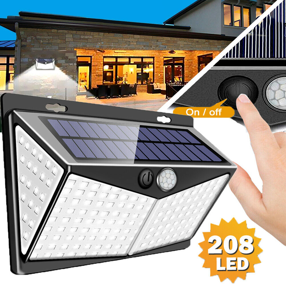 208 LED Solar Power Lights PIR Motion Sensor Wall Lamp Garden Waterproof Outdoor Solar Panel Street Light for Garden Decoration