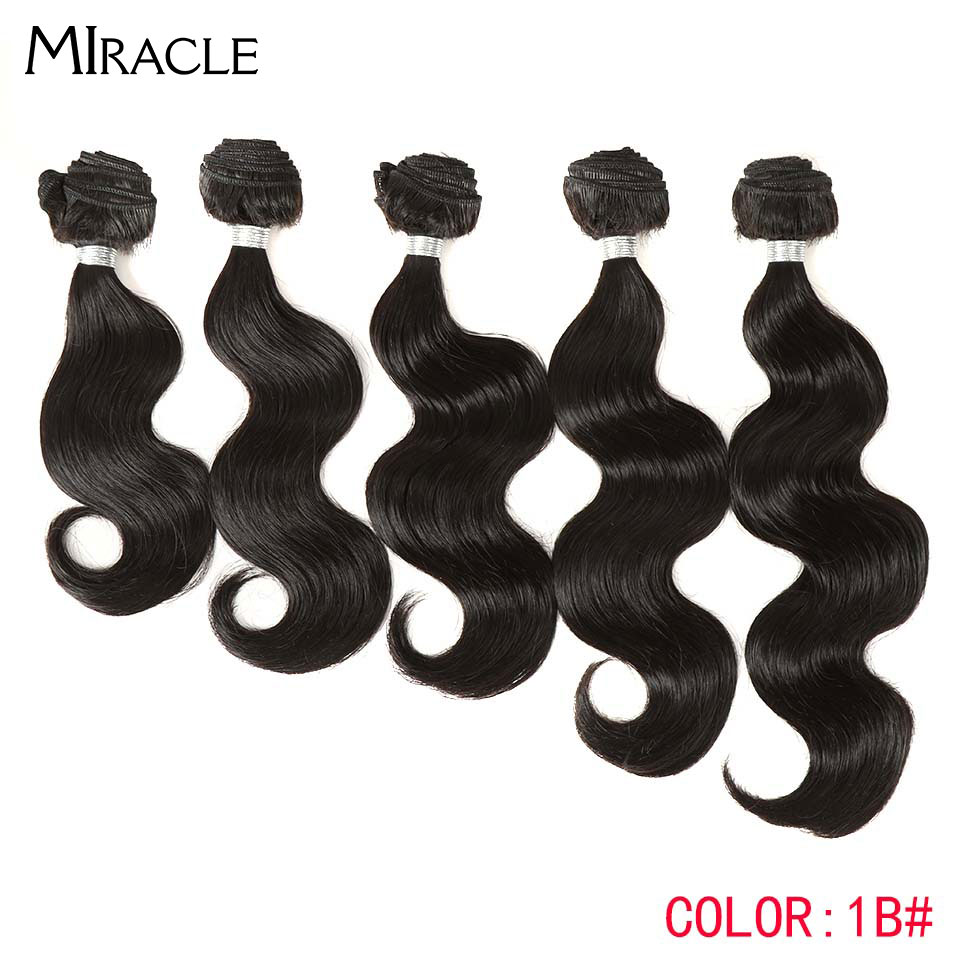 Miracle Weft Weave Bundles Hair Synthetic-Hair Wavy Hair-Extensions Weaving-Body Black title=