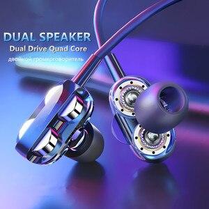 Quatro núcleo duplo alto-falante com fio fone de ouvido in-ear fone de ouvido para samsung xiaomi huawei dupla driver estéreo esporte jogos fones de ouvido com microfone