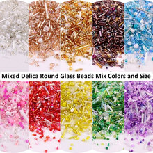 500Pcs Mixed Colors Multi Size Glass Seed Beads Czech Spacer Bugles Bead Tube For DIY Handmade Craft Clothing Sewing Accessories