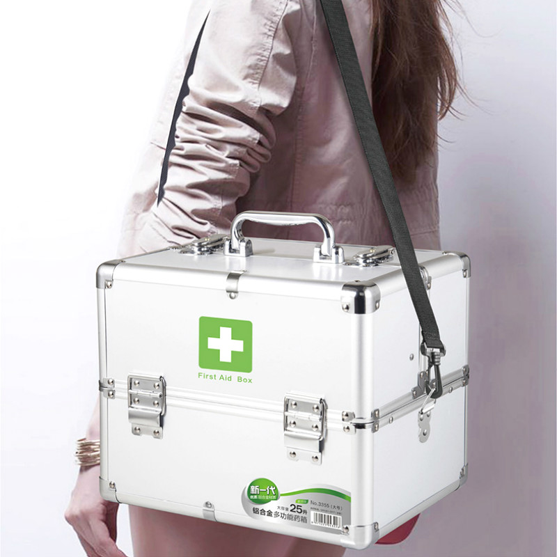 Large Space Lockable First Aid Box Security Lock Medicine Storage With Portable Handle 3 Tier Design Silver